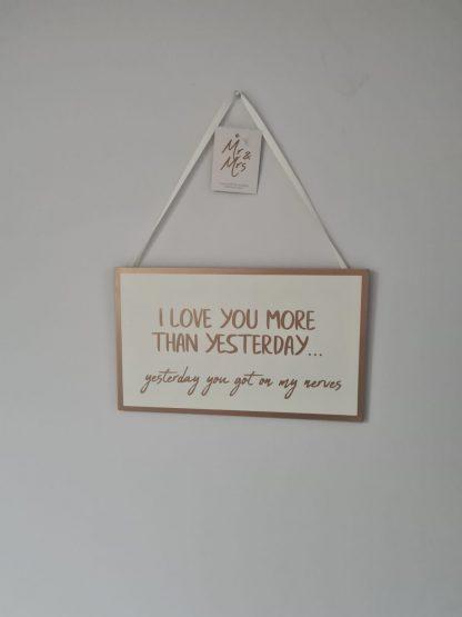 wedding plaque yesterday